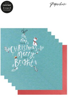 Paperchase Merry And Bright Pack Of 5 Christmas Cards