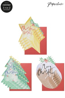 Paperchase Star, Tree And Christmas Pudding Pack Of 12 Christmas Cards