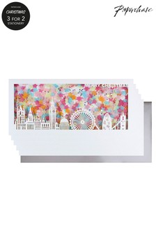 Paperchase Confetti London Skyline Box Of 5 Christmas Cards