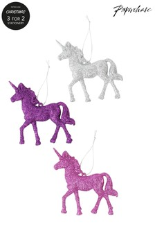 3 decorațiuni de Crăciun Paperchase model unicorn cu sclipici