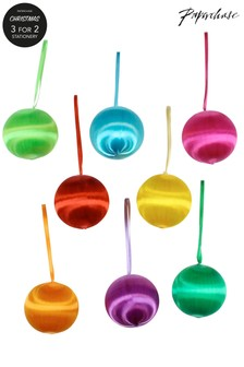 Paperchase Weihnachtskugeln zum Aufhängen im 9er-Set, regenbogenfarben