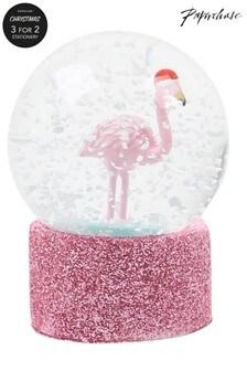 Paperchase Flamingo Christmas Snowglobe