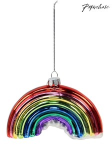 Paperchase Glass Metallic Rainbow Christmas Decoration