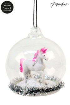 Paperchase Glass Globe Unicorn Christmas Decoration