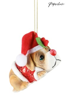 Paperchase Puppy In Santa Hat Christmas Decoration