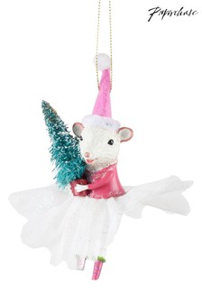 Paperchase Ballerina Mouse Holding Tree Christmas Decoration