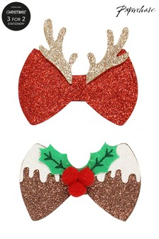 Paperchase Christmas Bow Hair Clips