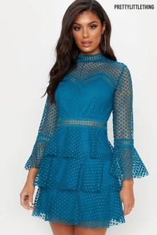 PrettyLittleThing Flute Sleeve Lace Dress