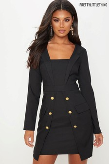 PrettyLittleThing Tuxedo Military Blazer Dress