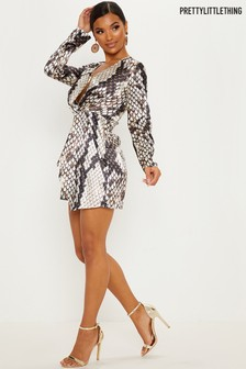 PrettyLittleThing Knot Front Satin Dress