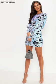 """PrettyLittleThing Long Sleeve Sequin Bodycon Dress"