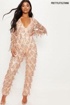 PrettyLittleThing Tassel Sequin Plunge Jumpsuit