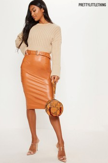 PrettyLittleThing Belted Midi Pencil Skirt