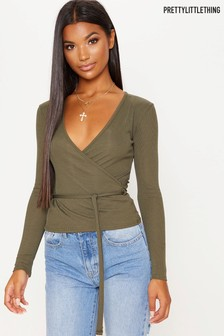 PrettyLittleThing Long Sleeve Wrap Top
