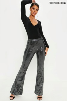 PrettyLittleThing Sparkly Wide Leg Party Trousers