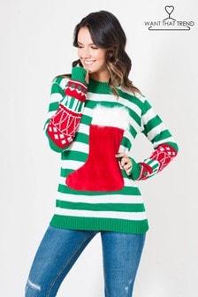 Want That Trend Weihnachtspullover mit auffälliger Tasche