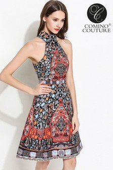 Comino Couture Halter Neck Folk Print Dress