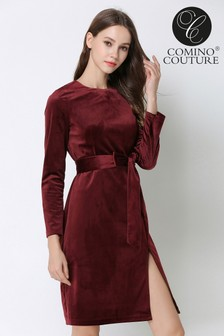 Comino Couture Velvet Berry Dress