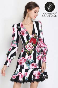 Comino Couture Stripped Rose Dress