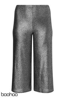 Boohoo Curve Metallic Wide Leg Trousers
