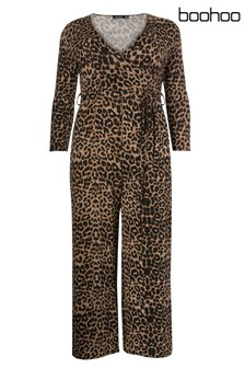 Boohoo Curve Leopard Print Jumpsuit