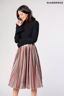 Glamorous Striped Midi Skirt