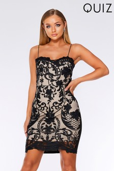 Quiz Mesh Embroidered Mini Dress