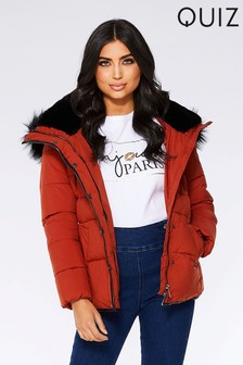 Quiz Padded Faux Fur Hooded Jacket