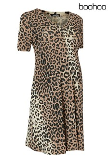 Boohoo Maternity Leopard Print Dress