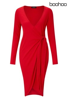 Boohoo Maternity Long Sleeve Wrap Dress