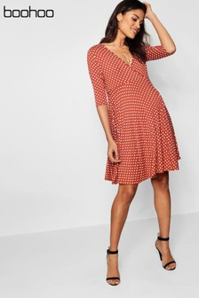 Boohoo Maternity Polka Dot Wrap Front Dress