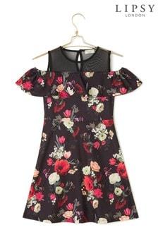 Lipsy Girl Floral Cold Shoulder Mesh Dress