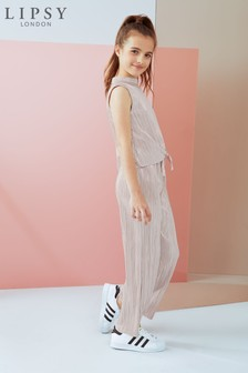 Lipsy Girl High Neck Plisse Jumpsuit