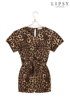 Lipsy Girl Leopard Print Playsuit