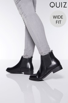 Quiz Wide Fit PU Diamanté Chelsea Boot