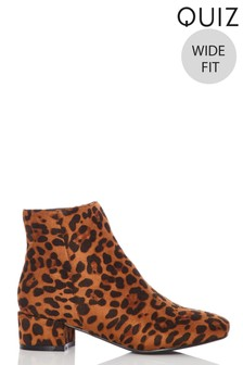 Quiz Wide Fit Leopard Faux Suede Ankle Boot