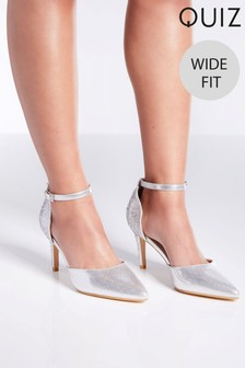 Quiz Wide Fit Shimmer Diamanté Heeled Court Shoes