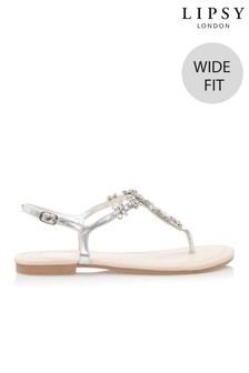 a1d76a653bb855 Lipsy Wide Fit Jewelled Flat Sandal