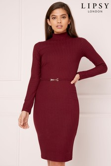 Lipsy Rib Belted Dress