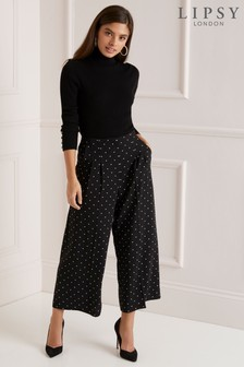Lipsy Polka Dot Wide Crop Trousers