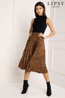 Lipsy Leopard Pleated Midi Skirt