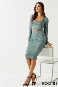 Missguided Metallic Rib Midi Skirt Co-Ord