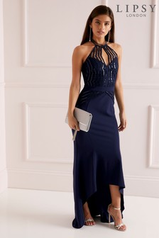 Lipsy Sequin Scallop Fishtail Maxi Dress