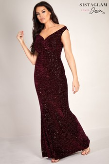 Sistaglam Loves Jessica Wright Velvet Glitter Lurex Stretch Bardot Maxi Dress
