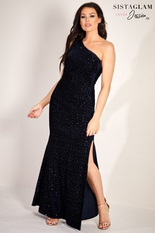 Sistaglam Loves Jessica Velvet Glitter Lurex Maxi Dress