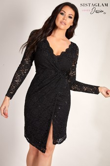 Sistaglam Loves Jessica Sequin Midi Wrap Dress