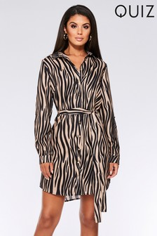 Quiz Tiger Print Belted Shirt Dress
