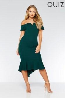 Quiz Bardot Frill Hem Midi Dress