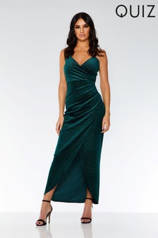 Quiz Velvet Glitter Wrap Maxi Dress