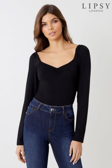 Lipsy Square Neck Ruched Top